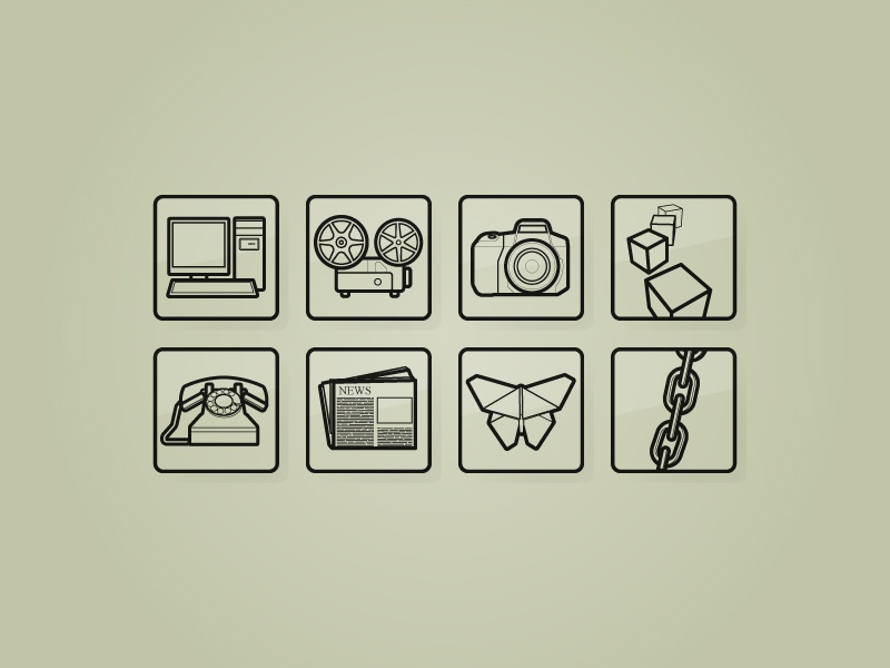 Icons newspaper phone camera lines icons