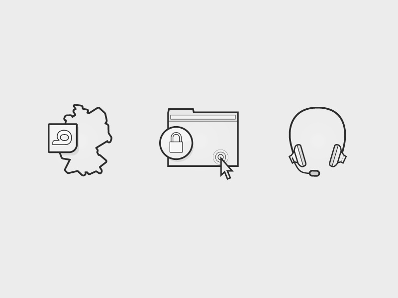 Icons headset service safe browser germany lines icons