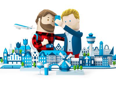 KLM travel netherlands cgi 3d illustration