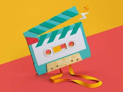 Paperclip - Tape film music infographic bold 3d cgi tape festival illustration