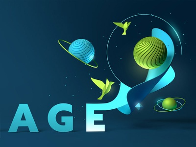 Edison cg 3d blue typography type space bird planet illustration