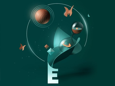 Edison 2 butterfly time cgi 3d illustration typography type