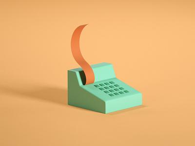 Cash Desk 3d icon illustration