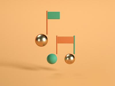 Music 3d icon illustration