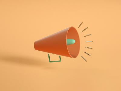 Megaphone 3d icon illustration
