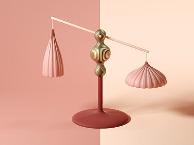 Balance scale balance styleframe love 3d icon illustration