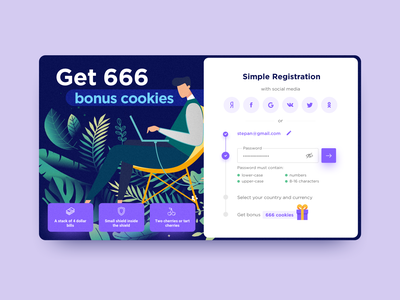 Step-by-step registration form design benefit landing lowercase sign up signup bonus gift field input form validation verification password wizard wizzard multi-step step by step