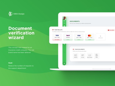Document verification wizard documentation skrill visa status ux ui card credit virified passport wallets banking bank dashboard green accounts validation verification documents docs