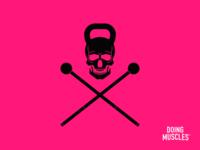 Doing Muscles Skull & Macebones Icon skull and crossbones face branding design branding and identity iron kettlebell typography design branding icon logo design brand logo vector fitness fitness logo