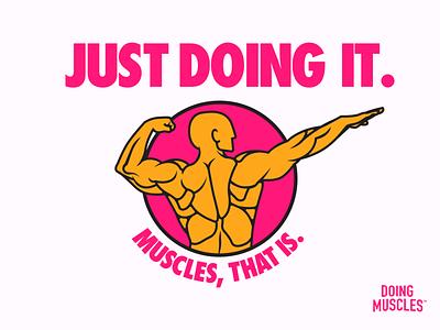 """Just Doing It"" Doing Muscles T-Shirt Design brand branding illustration brand design design vector tshirt art branding and identity fitness brand fitness futura typography logo tshirt"