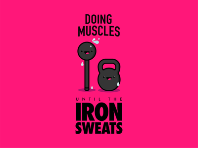 Doing Muscles Sweaty Iron T-Shirt Design illustration typography branding and identity tshirt design fitness logo branding brand vector design icon logo tshirt