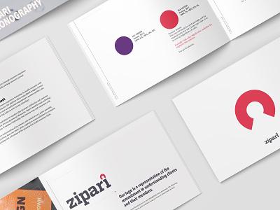Zipari Brand & Style Guide design branding startup branding startup icon set graphic design logo design logotype brand strategy brand colors palette typography logo style guide