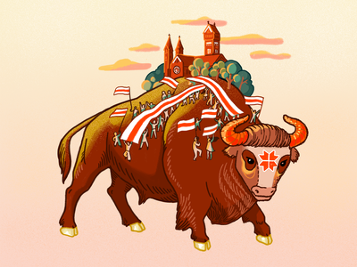Belarus digitalart protest belarus aurochs bison animal character character design illustration