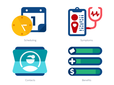 Zest Icons app benefits contacts scheduling symptoms health sketch interface icons ui