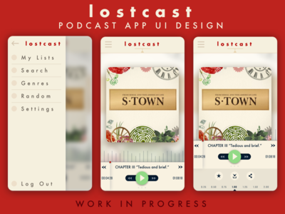 Lostcast UI interface audio music ux app player s-town podcast ui