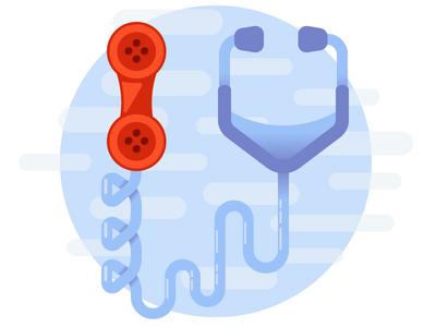 Telemedicine healthcare illustration telephone phone stethoscope medical telemedicine