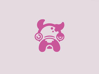 Ugly Dog ugly pug hound puppy dog pink logo illustration