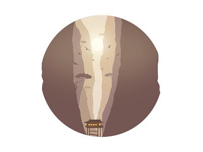 Crack moon illustration