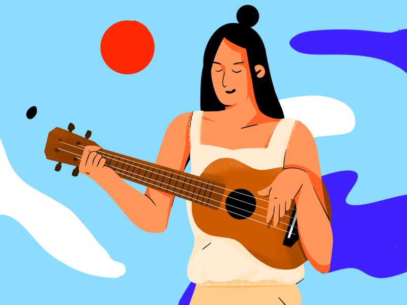 Ukulele color sketch daily illustration