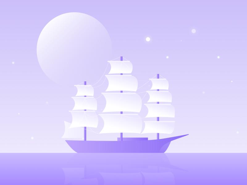 Sailboat daily sketch color illustration
