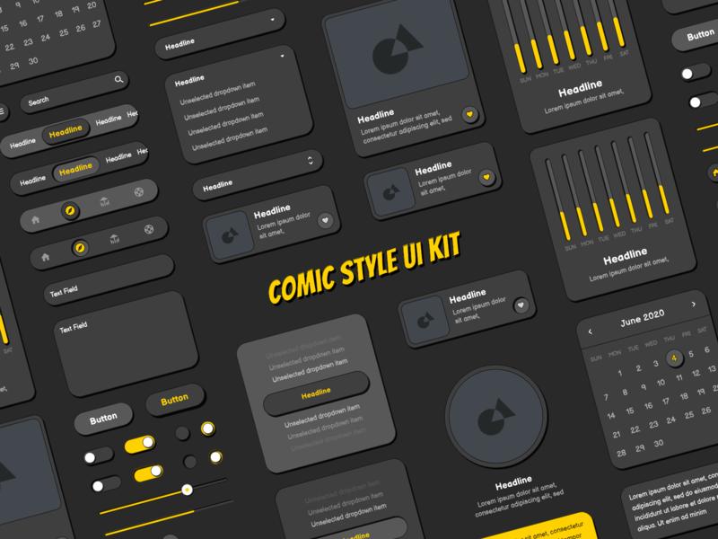 Dark Comic Style Ui Kit ui kits creative comic kit comic style ui elements elements design design system ui ui design ui kit comic art comics comic