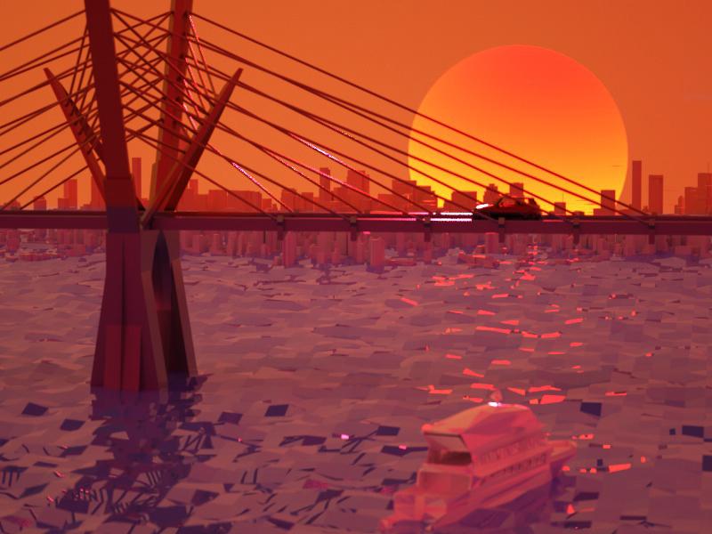 Sunset c4d 3d art design ui