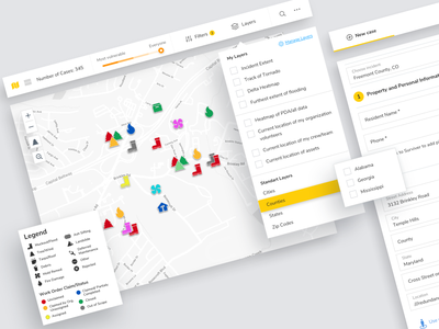Work order management software with cases management illustration interaction nonprofit volunteer agent web product ui ux disaster icons map layers order management work cases