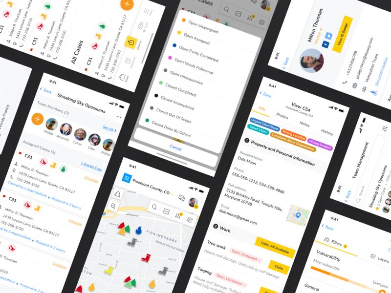 A collaborative work management platform design manager icons map ios app design profile cards application product team manager task manager case task app mobile platform