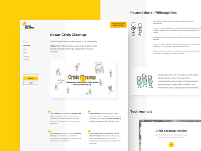 Crisis CleanUp About web about page app ui design