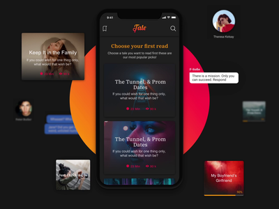Tale - Chat Stories App redesign subscription premium story profile feed android ios reactnative interaction motion app animation ui ux mobile tales