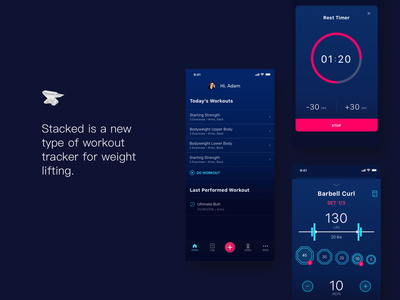 Workout Tracker workouts routines mobile app weightlifter elegant redesign subscription premium tracker profile timer ios interaction motion app animation ui ux mobile fitness