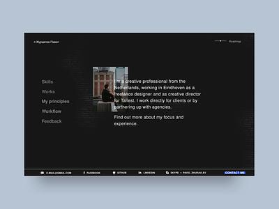 Developer Website front-end testimonials github graphics animation roadmap website ui presentation workflow menu software developer interaction homepage design banner