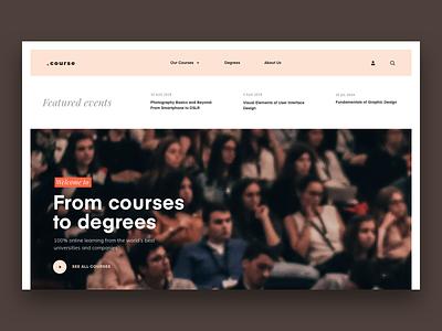 Courses Online Education landing page ui education homepage redesign courses navigation menu website online education