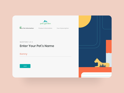 Website for lovely animals forms steps questionnaire personalize product question website subscription dog graphics illustrations animals pets form ux ui