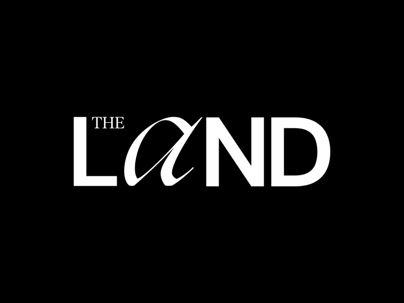The Land brand design podcast logo typography branding