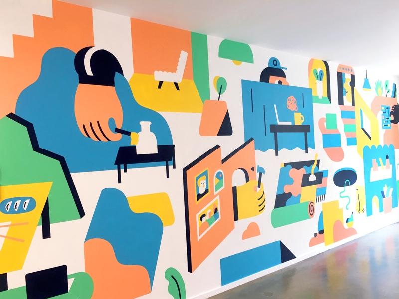 Q dribbble mural 1x