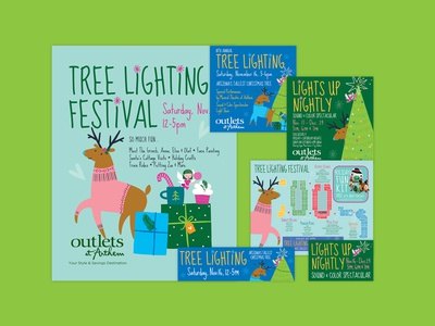 Tree Lighting Festival Graphics social media signage event illustration design collateral advertising