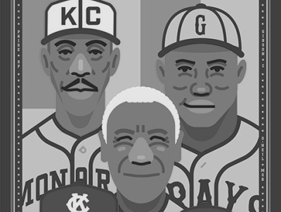 Negro Leagues commemorative poster heroes character design illustration american history black history history baseball sports poster