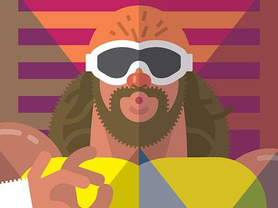 Macho Man illustration design character jim slim savage randy 80s wrestling