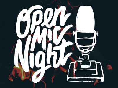 Open Mic Night drawing illustration typography lettering hand music microphone night mic open