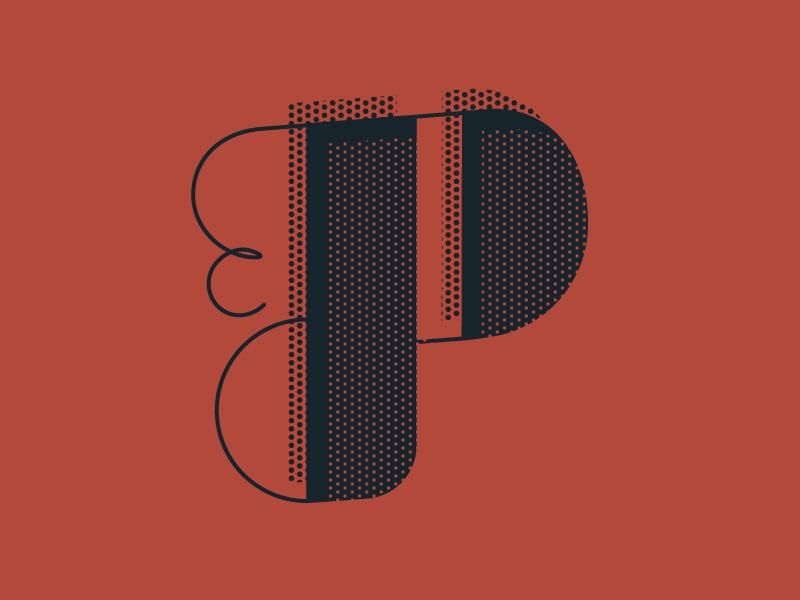 'P' letter typography typehue