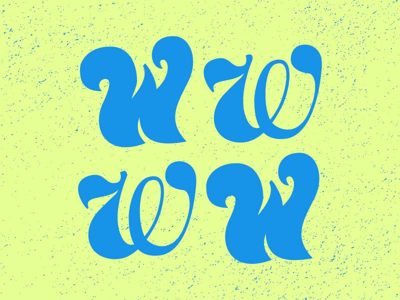 W letter typography typehue