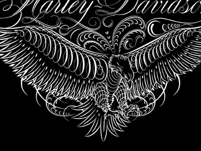 Harley-Davidson Flourish flourish script eagle vector harley-davidson apparel