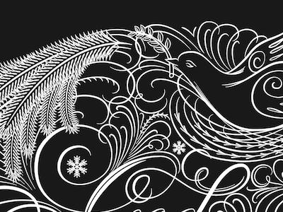 God Jul script calligraphic vector christmas flourishes flourish lettering