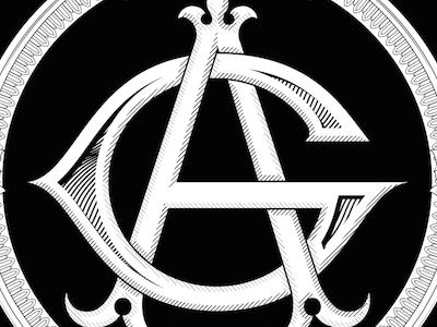 AG monogram vintage vector lettering custom monogram