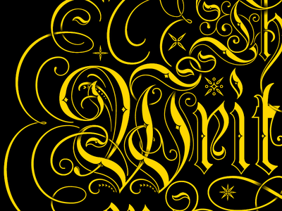 The Writing's on the Wall script calligraphic vector blackletter flourishes flourish lettering