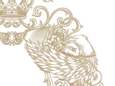 Golden Bough Crest flower vintage flourish eagle label wine packaging illustration vector