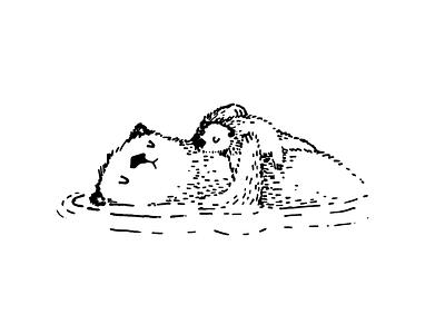 Otters simple pen otters illustration