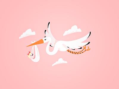 Baby Shower baby shower stork photoshop illustration