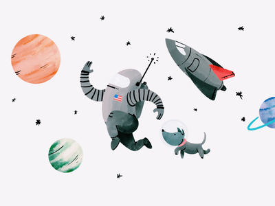 Space Walk procreate illustration astronaut space